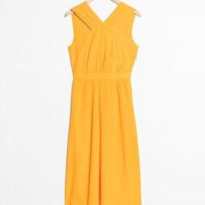 Yellow Midi Cross Front Dress